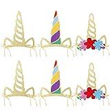 Amosfun Unicornio Cuerno Sombreros Glitter Unicornio Cuerno Party Sombreros Unicornio Banda para Fiestas de Cumpleaños Gorro para niños y Adultos, Pack de 12