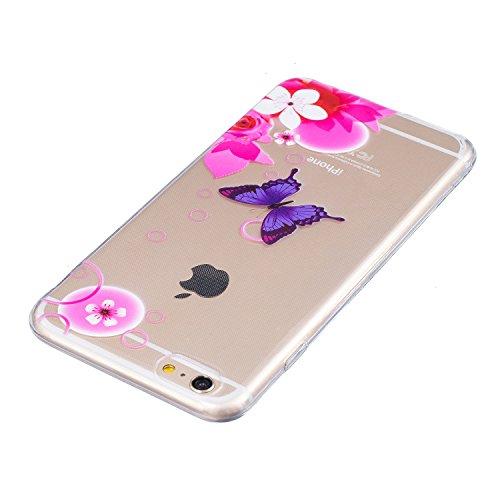 Cover iPhone 6 Plus in Silicone, LuckyW TPU Silicone Custodia per Apple iPhone 6/6S Plus(5.5 pollice) Colorful Pattern Design Transparente Gomma Gel Clear Limpido Bumper Case Cover Ultra Sottile Ultra Farfalla Blu