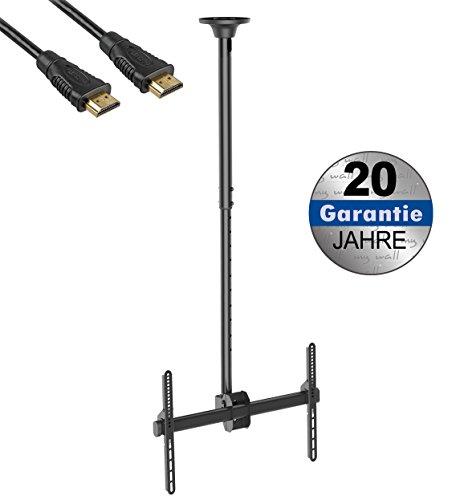 Deckenhalter für LCD TV Plasma stufenlos neigbar(0-25°) kippbar drehbar(360°) 37\'\'-70\'\' (94 - 178 cm) VESA 200x200-400x400 mit Kabelabel HDMI Kabel (Deckenhalterung Universal VESA Halterung)