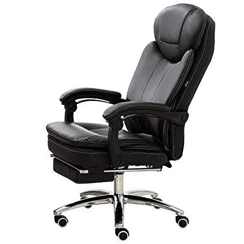 Fauteuil de Bureau en Cuir PU avec Chaise rembourrée à Grand Angle inclinable à 180 ° avec Repose-Jambes et inclinable allongés, Poids 150kg,Noir