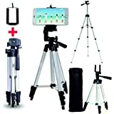 Tygot Portable & Foldable Camera & Mobile Tripod with Mobile Clip Holder Bracket Fully Flexible Mount Cum Tripod Stand with Three-Dimensional Head & Quick Release Plate