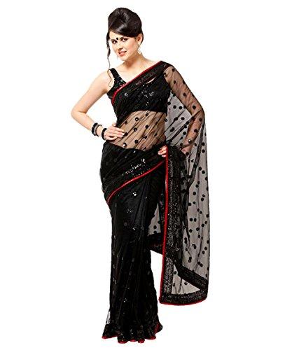 Dancing Girls\' Net Saree (Mumjasbs005Ka_Black)