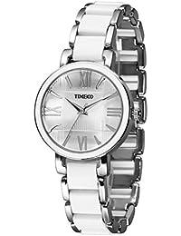 7bd3f9a10ab5 Time100 Reloj curazo para Mujer con Correa Copia cerámica la Esfera con  aleación con Diamantes