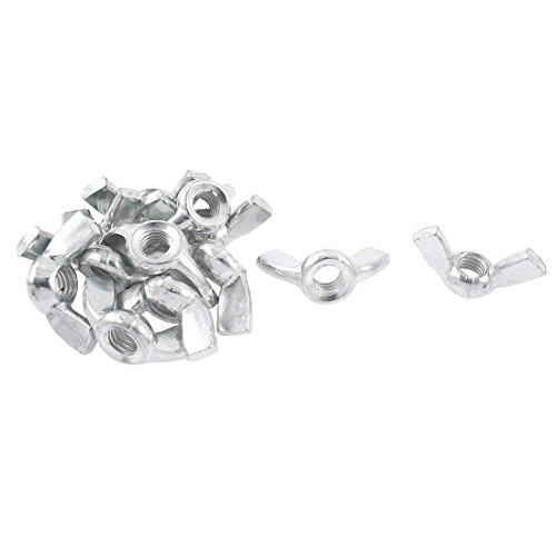 Fluegelmutter - TOOGOO(R) 12 Stueck M6 6mm Gewinde Metall Fluegelmutter Schmetterling Fluegel Nuesse Silber