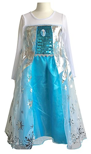 La Senorita Elsa Frozen Kleid mit Broche Kostüm Prinzessinnen Kleid + Gratis Frozen Kette (Größe 3-4 Jahre - 104-110, blau)