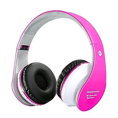 Casque sans fil Bluetooth pour enfants Casques rechargeables rétractables Écouteur intra-auriculaire avec microphone intégré pour téléphones intelligents Tablet PC et autres périphériques Bluetooth Rose