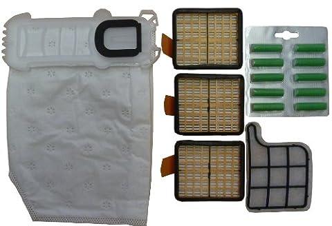 Mister vac A922 18 sacs aspirateur en non-tissé pour Vorwerk Kobold VK 135 / 136 + 3 filtres Hepa / Charbon actif / brosses rondes / 10 bâtonnets parfumés verts