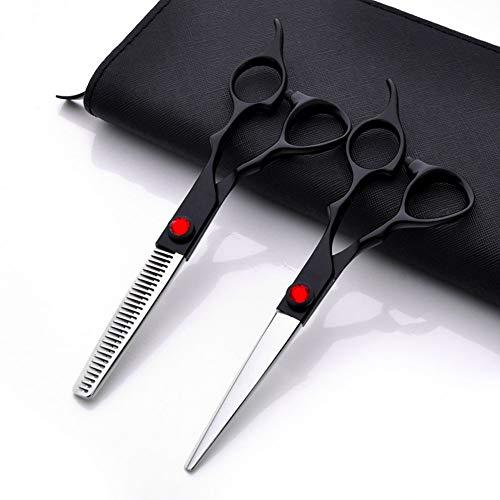 6 Zoll Hochwertiger Edelstahl 440C Fellscheren Ergonomische Haarschere Set Friseurscheren scharfe Effilierscheren präzise Haarschnitte rostfrei für Friseure sowie für die persönlichen Verwendung,A