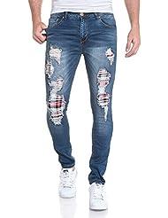 BLZ jeans - Jeans homme bleu délavé déchiré avec pièces à carreaux