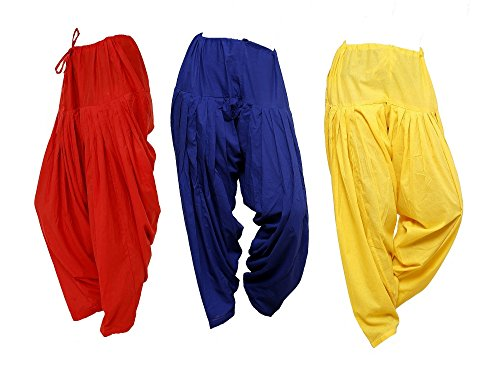 Pistaa Combo of Womens Cotton Red, Royal Blue And Yellow Semi Patiala...