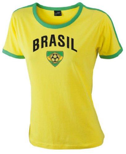Brasilien Damen T-Shirt Ladies Shirt Flag Team|M (Brasilien-flag Shirt)