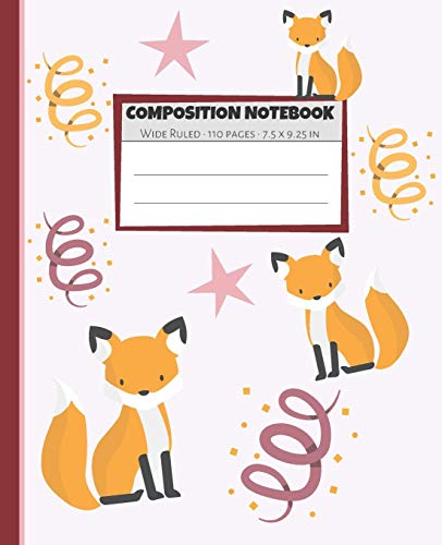 Composition Notebook: Red & Orange Fox Star Notebook Wide Ruled Paper - Blank Lined Subject Workbook For Kids, Teens, Students, Girl, Teachers To School, Home, College