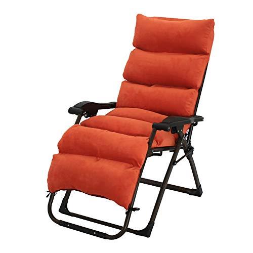 Deckchairs Liegestühle Gepolsterte Outdoor Chaise Lounge Faltbar, Schwerelosigkeit Liegen für Terrasse, Strand, Garten, Unterstützung 330 Pfund (Farbe : Orange)