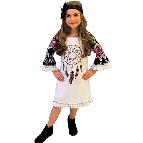 JM Hemdbluse Nette Mode Langärmeliges Lautsprecher-Etuikleid Fransenkleid Kinder Baby Mädchen Kleidung Windbell Printing Party Pageant Prinzessin Kleider (Größe: 6 Jahre, Weiß) (Kleine Mädchen Dress Up Kleidung)
