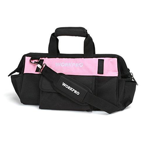 Preisvergleich Produktbild WORKPRO 40,6 cm Pink Werkzeugtasche mit weiter Reißverschluss-Öffnung verstellbarer Schultergurt