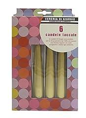 Idea Regalo - Cereria di Giorgio Risthò Candele Coniche Laccate, Cera, Oro, 2.2x2.2x21 cm, 6 unità