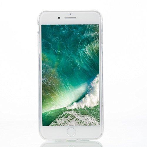 iPhone 8 Plus Hülle,iPhone 7 Plus Hülle,Schutzhülle iPhone 8 / iPhone 7 Plus Silikon Hülle,ikasus® TPU Silikon Schutzhülle Case Hülle für iPhone 8 Plus / 7 Plus,Durchsichtig mit Indische Sonne Schmett Weiße Pferde