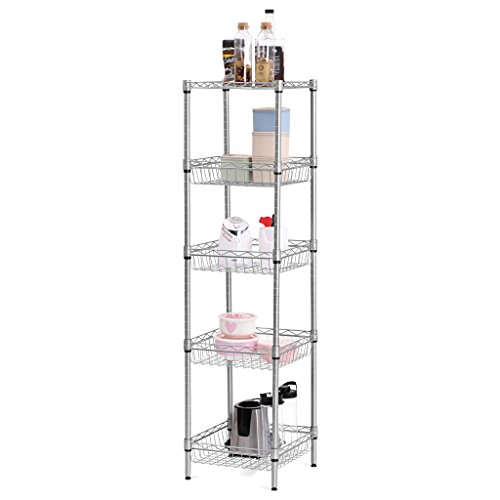 """LANGRIA 5 Tier Wire Storage Rack Shelving for Organization with Baskets and Adjustable Leveling Feet, 165 lbs Weight Capacity, 13.4"""" x 13.4""""x 51.2"""", Silver"""