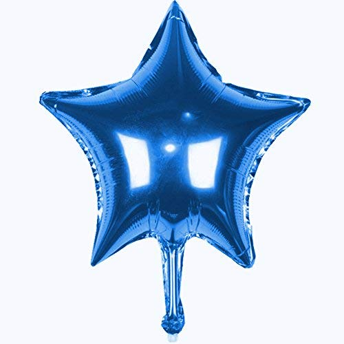 """TRIXES Paquete de 5 Globos de 18"""" Estrellas en Azul Helio Metálico Celebración de Fiestas Decoración Festiva de Mesa"""