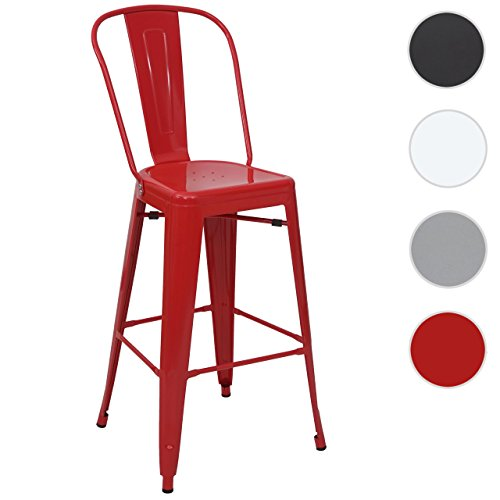 tabouret de bar HWC-A73, chaise de comptoir, métal, empilable, design industriel ~ rouge