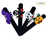 Good Sister 4 PCS Braccialetti Slap Zucca Pipistrello Fantasma Bambini Adulti Slap Wrist Bands per Halloween Masquerade Party
