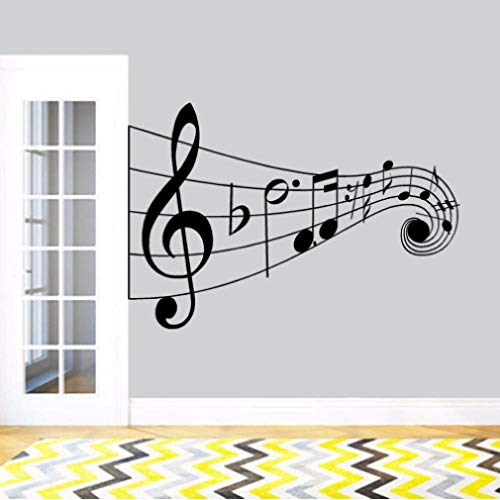 Vinyl Musiknoten Wandtattoos Schriftzug Wort Hinweis Notizen Wandmalerei Family Music Club Dekoration 84x57cm (Hinweis Club)