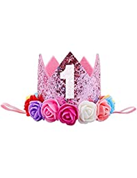 Ziory 1 Pcs Pink Color and Rose Flower Kids Baby 1st Birthday Hat Glitter Crown Flower Head Hair Band Party Headwear for Baby Boys and Baby Girls