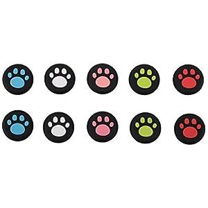 9CDeer 10 Stücke von Silikon Aufsätze Thumb Grips Thumbstick Joystick Analog Sticks Schutzkappe Abdeckung Cover Cap Nette Katze Paw Style für PS4, Xbox One, Switch PRO Controller ETC. Schwarz