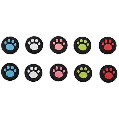 9CDeer 10 Piezas de Silicona Thumb Grips Stickstick Joystick Sticks Analógicos Cubierta Protectora de la Tapa Lindo Estilo de Pata de Gato para PS4, Xbox One, Switch PRO Mando ETC. Negro