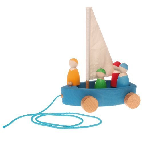 Grimm's Large Land Yacht with 4 Sailors - Wooden Pull Along Sailboat on Wheels with Peg Doll People Figures by Grimm's Spiel and Holz Design