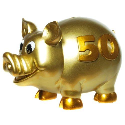 """Sparschwein """"50"""" gold 16 x 22 cm"""