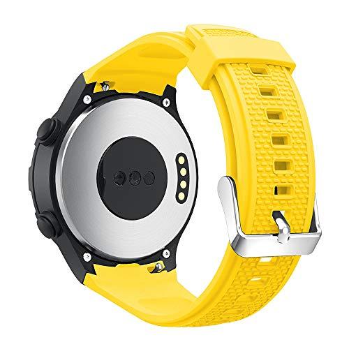 Für Huawei Watch 2 Armband,Colorful Silikon Sportarmband Sport Band Uhrenarmband Einstellbar Erstatzband für Huawei Watch 2 Smartwatch (Gelb)