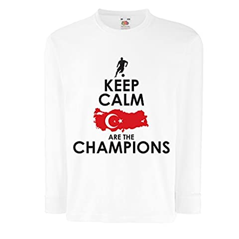 N4501D T-shirt pour enfants avec des manches longues Keep Calm and Turkey are the Champions (3-4 years Blanc Multicolore)