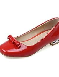ZQ YYZ Zapatos de mujer-Tac¨®n Plano-Comfort-Planos-Exterior / Casual-Semicuero-Rojo / Gris , red-us7.5 / eu38 / uk5.5 / cn38 , red-us7.5 / eu38 / uk5.5 / cn38
