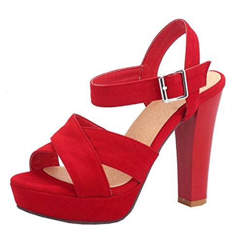YE Damen Offene Blockabsatz High Heels Plateau Sandalen mit Riemcen und Schnalle Wildleder Pumps Schuhe Rot
