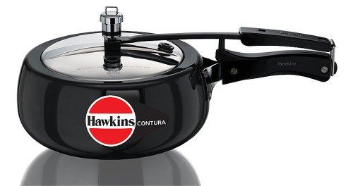 Hawkins Contura Hard Anodized Aluminium Pressure Cooker, 3.5 L (Black)