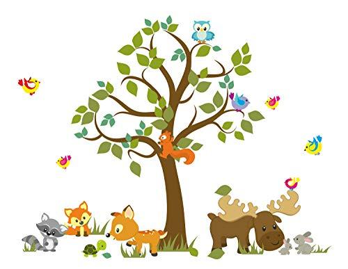 madras24 Wandtattoo Kinder Babyzimmer Aufkleber Eule Eulen Tiere Wandsticker Wand Waldtiere Kinderzimmer Wandaufkleber Dekoration fürs Baby Kindergarten Baum XXL