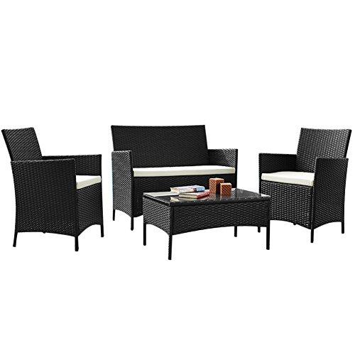 Bakaji set salotto completo di divano 2 poltrone e tavolino in vetro e poly rattan struttura in acciaio con cuscini sfoderabili arredo giardino terrazzo (nero)