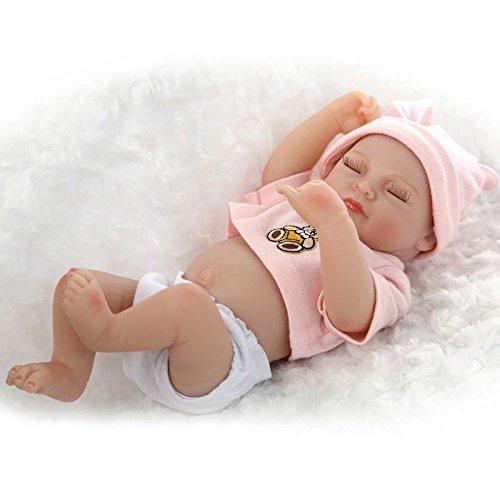 NPKDOLL Réincarné Bébé Poupée Vinyle Silicone Dur 10 Pouces 26Cm Yeux Waterproof Jouet Rose De Fille Ours Fermer Reborn Baby Doll A1FR