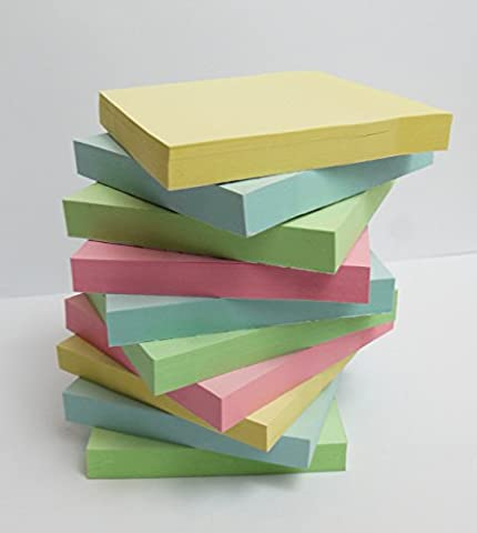 400 Quality PASTEL Assorted Coloured Removable Sticky Post Notes / Adhesive Notes 76x76mm 4 pads of 100 Individually