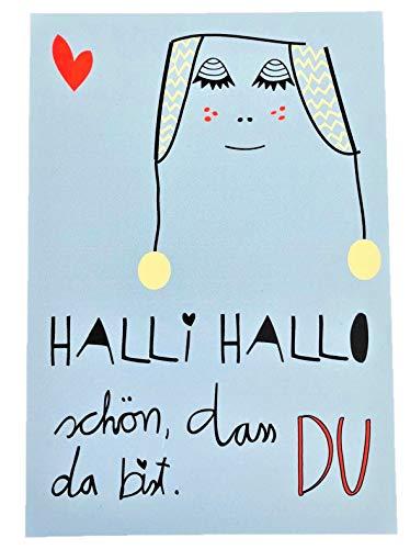 Lotta & Pepe Glückwunschkarte Blau Geburt Baby Karte Geschenk Message Botschaft Handmade Designer