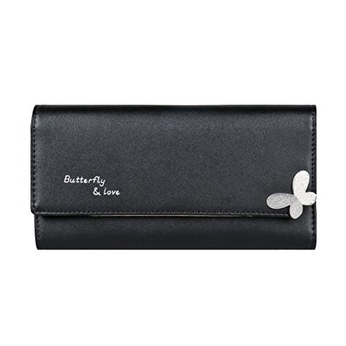 Damara Femme Portefeuille Cuir Simili Uni Cadeau Papillon Butterfly & Love