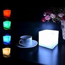 OULII Cubo del LED luz multicolor inalámbricos noche lámpara, regalo de Navidad (con pilas)