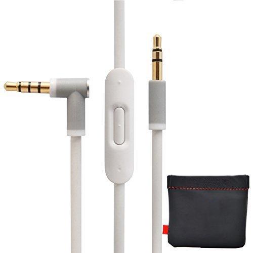 Remplacement de câble/Fil pour Beats câble audio + Télécommande/Micro pour Beats by Dr. Dre Casque Solohd/Studio/Pro/Detox/sans fil blanc