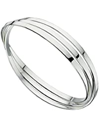 Elements Silver Women's 925 Sterling Silver Triple Russian Wedding Bangle of Flat Bands