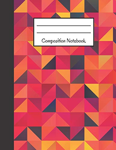 Composition Notebook: Orange, Yellow, Purple Geometric Design ~ Large - School Spirit Kostüm