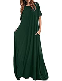 Kidsform Women Maxi Dress Long Short Sleeve Baggy Ball Gown Solid Pocket Party  Long Dresses 1ababe977