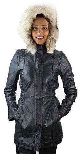 Damenjacke 100% Echtleder Schwarz Trench Fuchsfell Winter Retro Design Schwarz