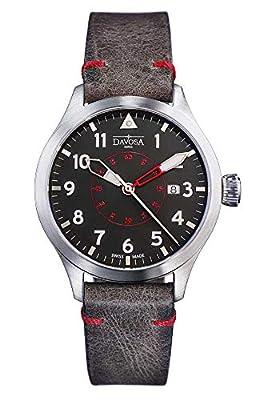 Davosa Black Red Neoteric Pilot Auto Transparent Case Back & Vintage Leather Strap Wrist Watch
