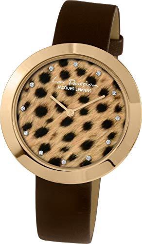 Jacques Lemans La Passion LP-113I Montre Bracelet pour femmes Style léopard